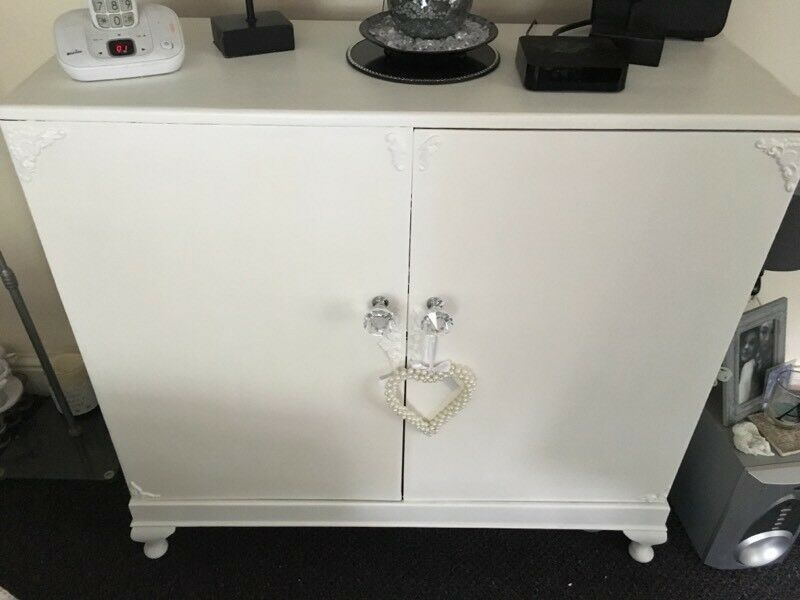 Shabby chic White eggshell cabinet £35 b on Avon