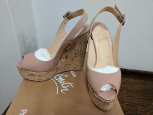 Louboutin Nude Patent and Cork Wedges