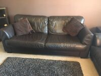 3&2 Seater Chocolate Brown Leather Sofas