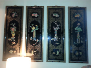 FOUR VINTAGE MOTHER OF PEARL PITURES