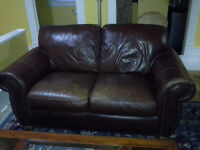 Genuine cowhide leather loveseat and recliners