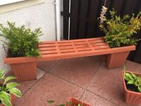 Seat bench with plants