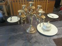 Sterling Silver Coated 5-Piece Candleholder