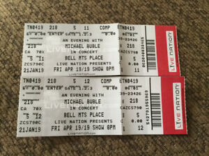 Two Amazing Micheal Buble Tickets for Sale!!!!!