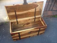 solid oak wooden chest