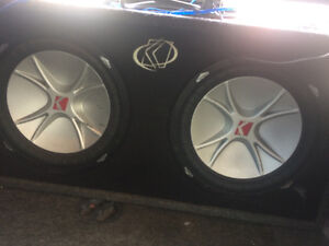 "2 12"" subs in a box with 1200 w amp"