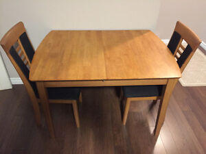 Solid birch dinette table with matching chairs