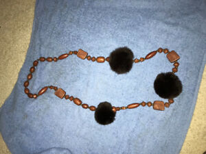 Brown furry necklace