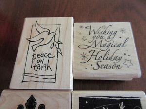Inkadinkado Wood Block Stamps x 6 for Christmas