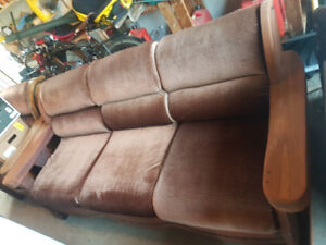 Brown velour couch for sale
