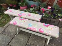 Two Shabby Chic Country Kitchen Dining Benches Seats