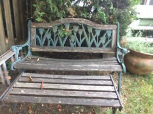 Rustic wrought iron bench + table