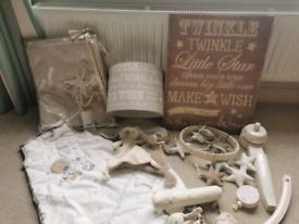 Nursery set cutrains, lamp, mobile, toys, grow bag