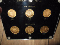 Full Set of ALL 6 1912 1913 1914 $5 and $10 Canada Gold Coins