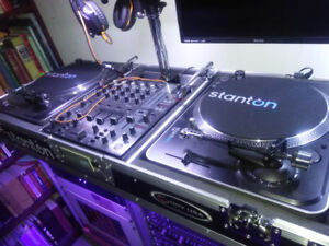 DJ turntables, mixer, coffin road case