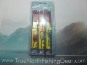"""3 Ice fishing Rigs with 8 """" Plastic Handle"""