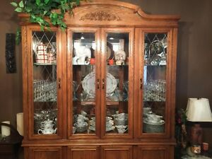 nice 2 piece hutch $350.00 also table leaf and 6 chairs $550.00