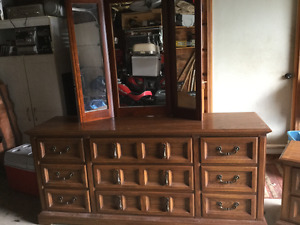 6 foot dresser with mirror and night table