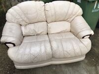 Free - 2 seater leather sofa - well worn-needs a clean- no rips or tears