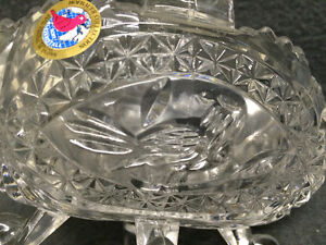 "Collectible Antique 4 Toed Crystal Footed Dish "" The Byrdes "" London Ontario image 2"