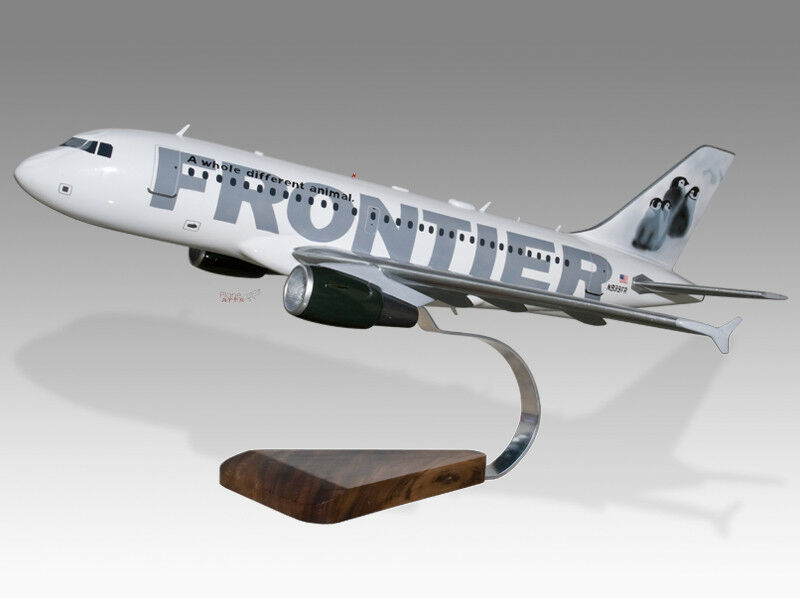Airbus A319 Frontier Penguins Solid Mahogany Wood Handcrafted Display Model