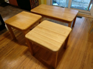 Solid wood coffee table and end tables