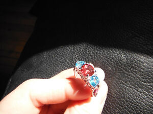 blue and pink ring