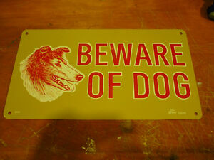 Old Beware of Dog Metal Sign
