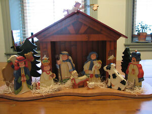 Large Handmade, Hand Painted Toile Christmas Nativity, Creche