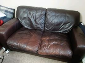 *URGENT* DFS 2-3 Seater Dark Brown Leather Sofa