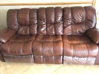 Brown Leather 3 Seater Recliner Sofa For Sale (Collection Only)