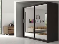 120, 150, 180 and 203 cm WIDTH - BERLIN SLIDING MIRROR WARDROBE IN WHITE AND BLACK