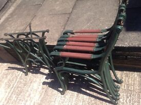 Cast iron table 2 chairs and bench