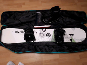 Snowboard,bindings, boots, goggles and case