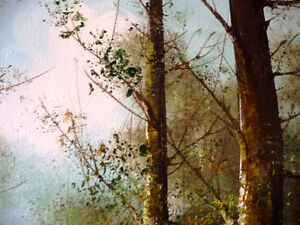"""Forest Landscape Painting by Carl Madden """"Forest Road"""" 1970's Stratford Kitchener Area image 8"""