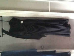 Beautiful Black gown with side crystal pin and matching scarf