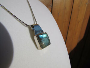 Labradorite & Turquoise Sterling Silver Pendants