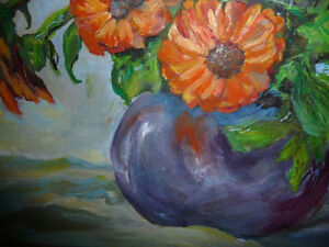 Vintage Still Life of Zinnias In A Blue Vase by M. Oliphant '47 Stratford Kitchener Area image 4