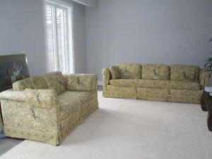 Matching Sofa and Love Seat + Curtains