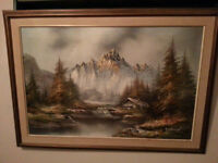 P.Anderson - Snow Mountain River Landscape - Oil Painting