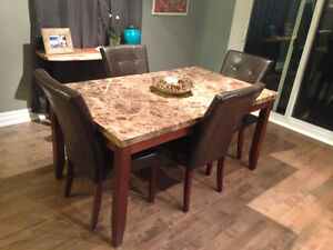 Marble look dining set.