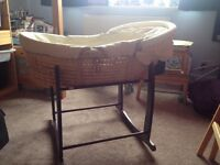 Mamas and Papas Moses basket and Clare de Lune rocking stand