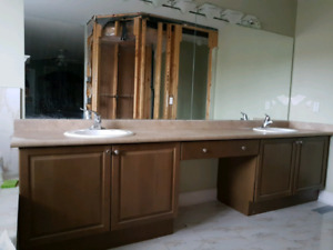 Double Bathroom Vanity, sinks, faucets, wall mirrors