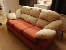 3 Seater Terracotta /cream Fabric Sofa with detachable covers