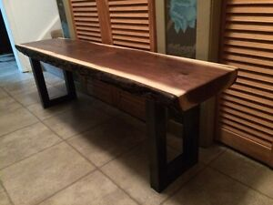 "Solid Live Edge 2"" Thick Black Walnut Hallway Bench  Sarnia Sarnia Area image 3"