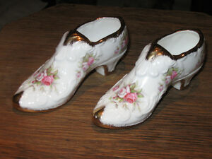 2 MATCHING EXQUISITE PARAGON BONE CHINA LADY'S SLIPPERS