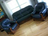 Magnifique mobilier de salon en cuir pleine fleur de buffle