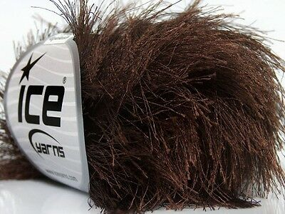 38Yd Chocolate Brown Extra Long Eyelash Yarn #13020 Ice Luxurious Fun Fur -