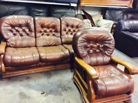 Brown leather 3 and 1 sofa