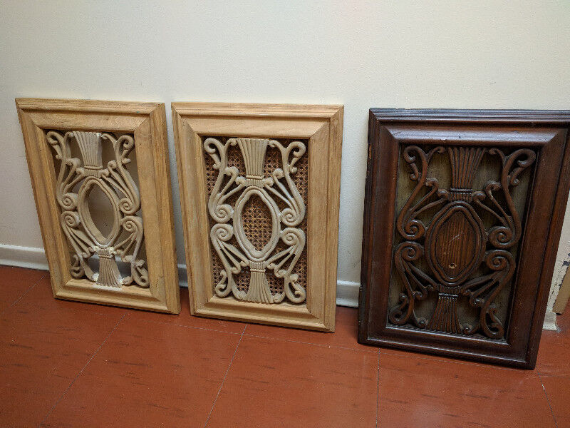 3 gorgeous carved wooden furniture cabinet doors ...